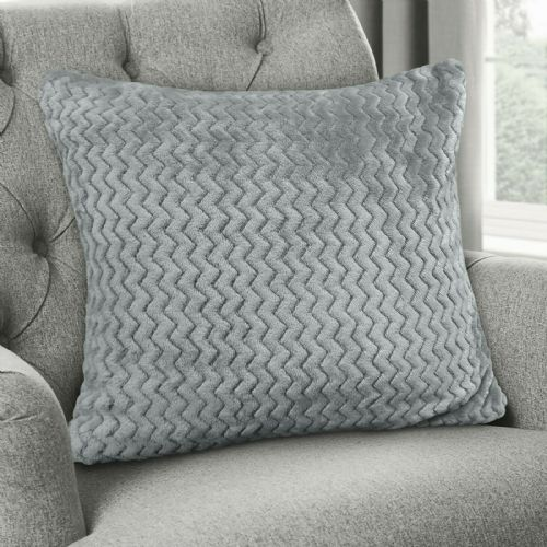 Large Luxury Chevron Zig Zag Super Soft Velvet Plush Scatter Cushion Plain Silver 56cm x 56cm